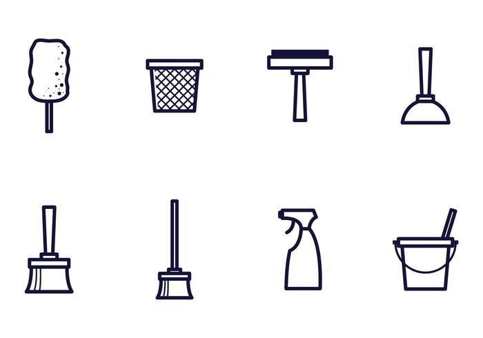 Vecteurs d'icônes de nettoyage linéaire