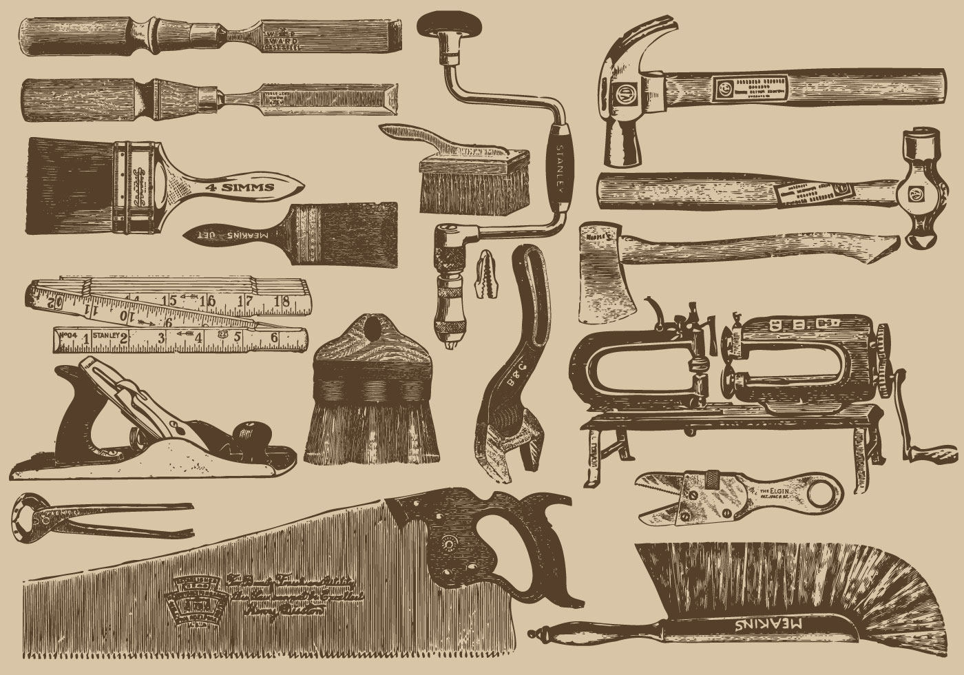 Vintage Carpenter Tools - Download Free Vector Art, Stock ...