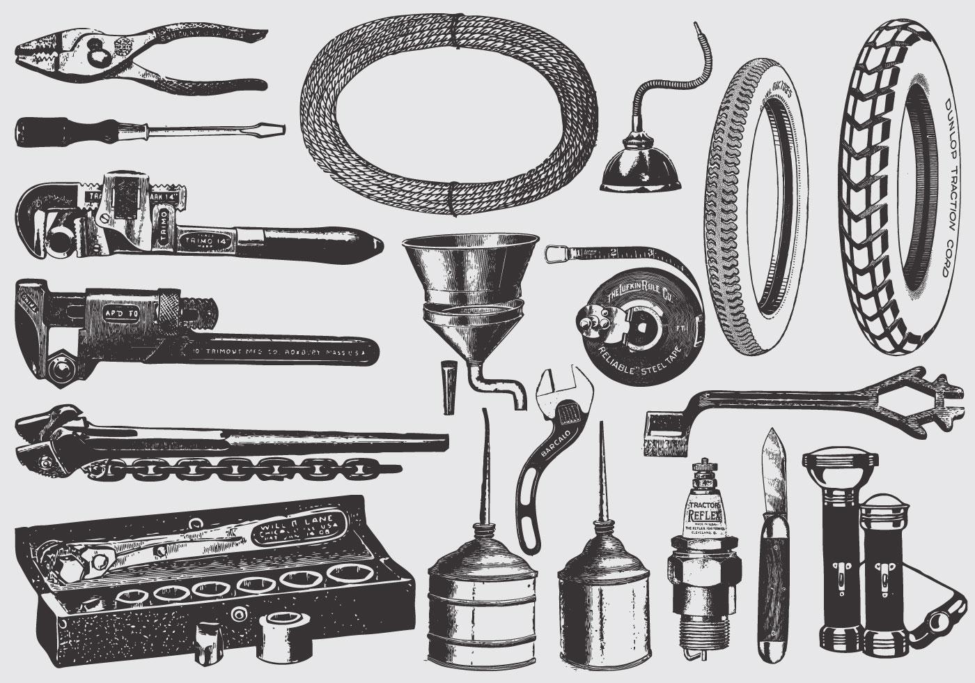 Vintage Mechanic Tools Download Free Vector Art Stock