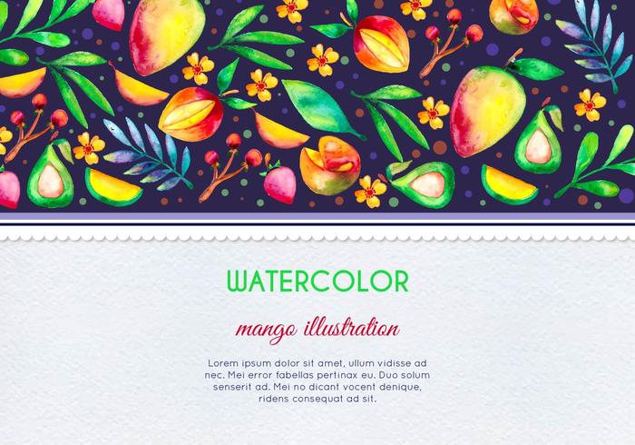 Free Vector Watercolor Mango and Fruit Card Illustration