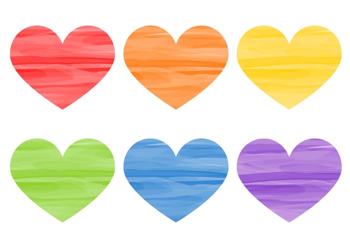 Free Watercolor Hearts Vector