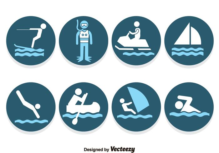 Water Sports Blue Icons Vector