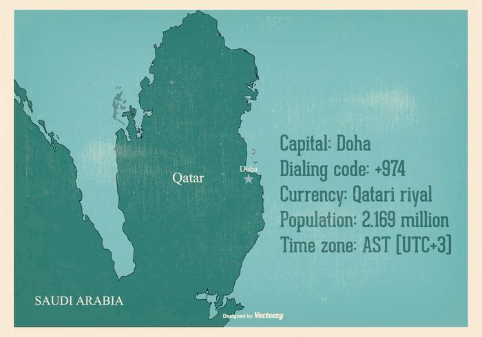 Old Qatar Map Illustration
