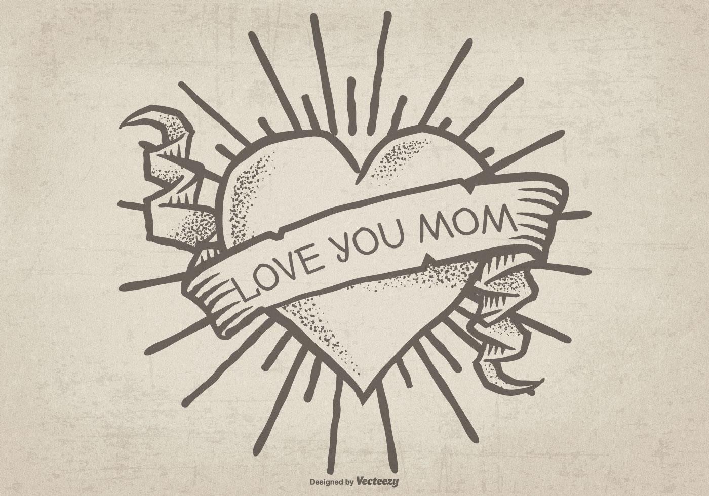 Cute Hand Drawn Mom Tattoo Ilustration - Download Free ...