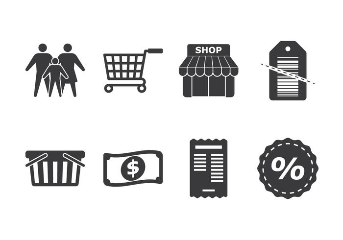 Family Shopping Icon Set vector