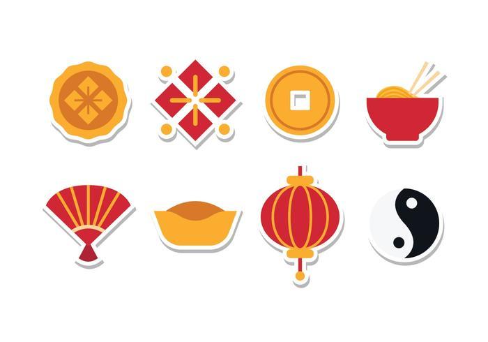 Gratis Kinesisk Klistermärke Icon Set