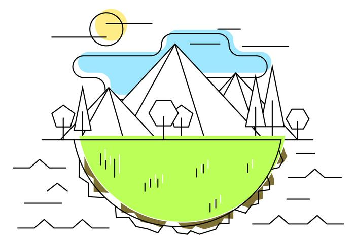 Geometric Mountain Meadow Vector Illustration