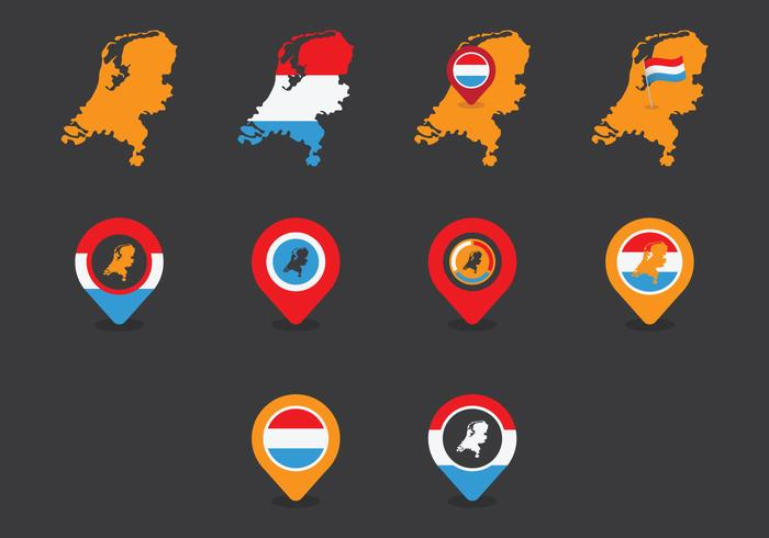 Netherlands Map Icon Set vector
