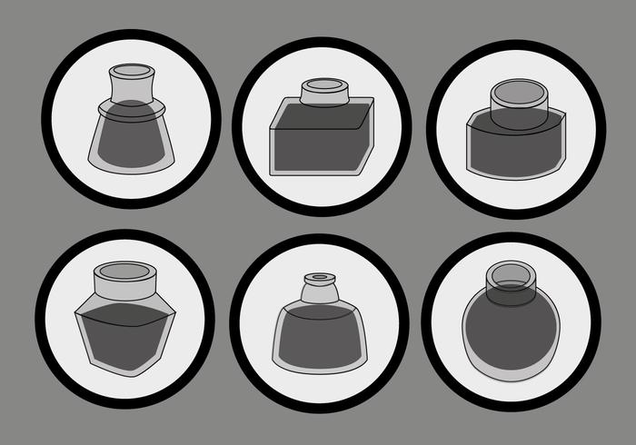 Simple Black Ink Pot Vector