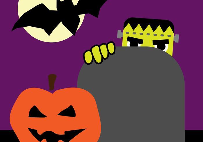 Halloween Graveyard Scene Vector