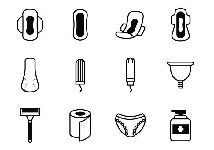 Gratis Feminin Hygien Ikoner Vector