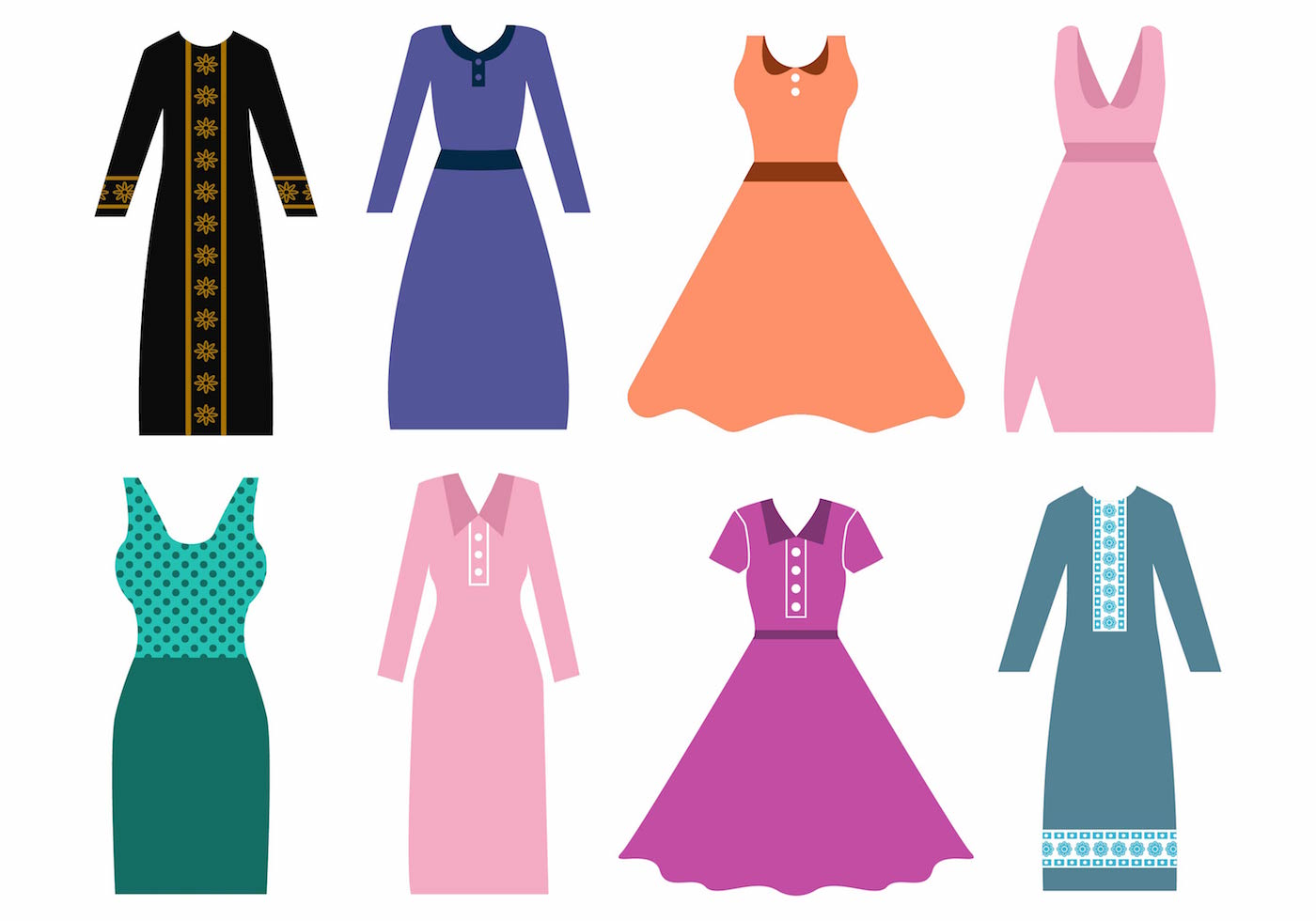 Free Women Dress and Abaya Vector - Download Free Vector Art, Stock ...
