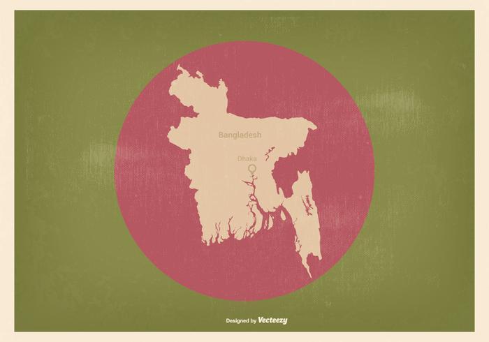 Bandiera del Bangladesh con mappa