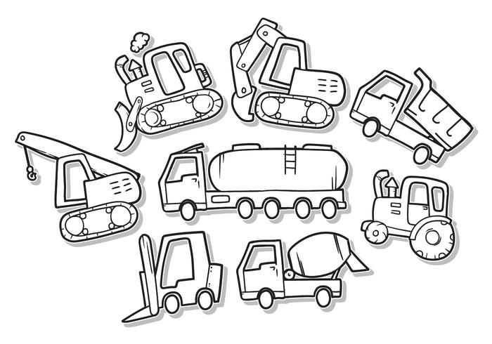 Gratis Doodle Construction Vehicle Vector