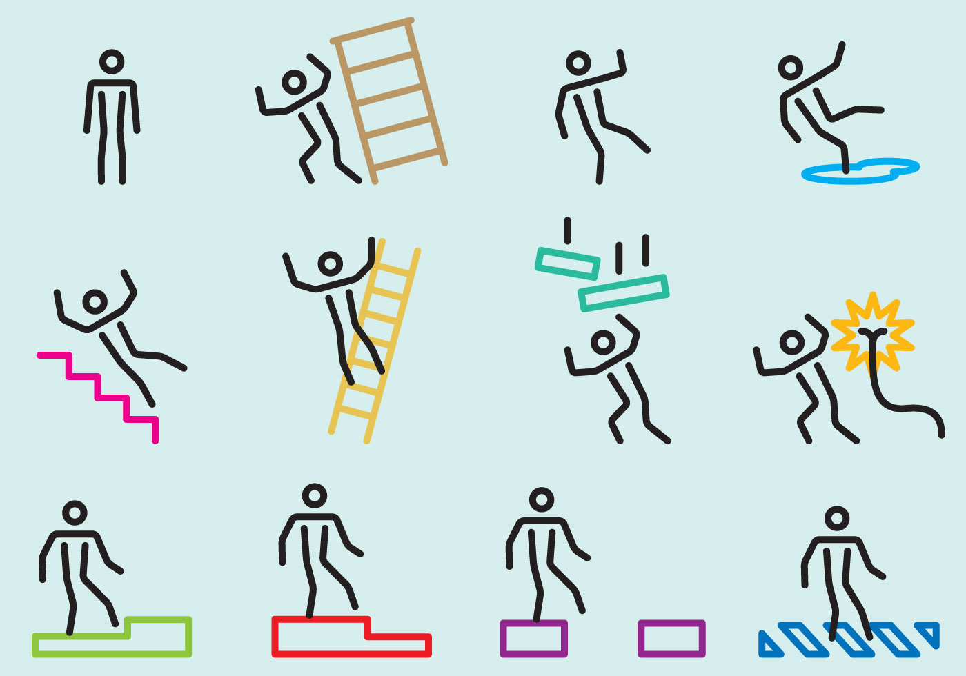 Cautions Stick Figure Signs Download Free Vector Art