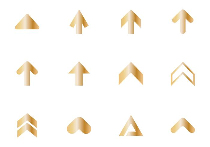 Freier goldener Pfeil-Ikonen-Vektor vektor