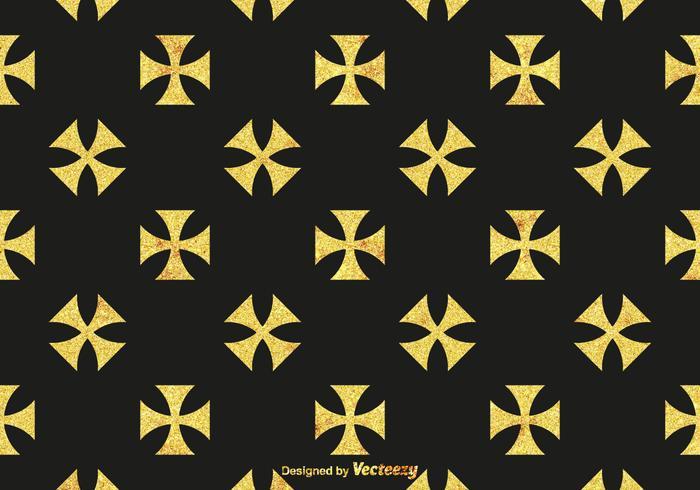 Free Golden Maltese Cross Vector Pattern