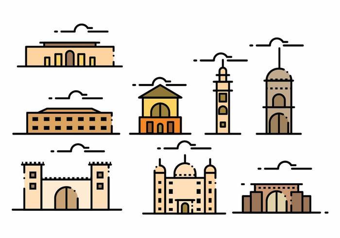 Minimalist Maroc Landmark Icon Set