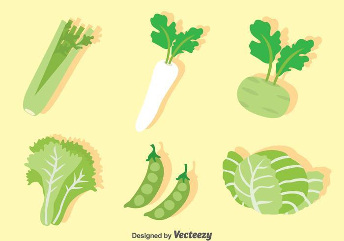 Green Vegetable Vector Set