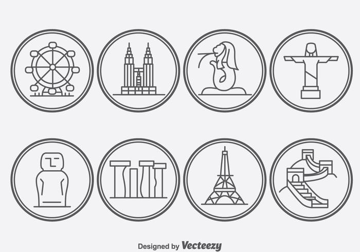 World Ladmark Outline Icons