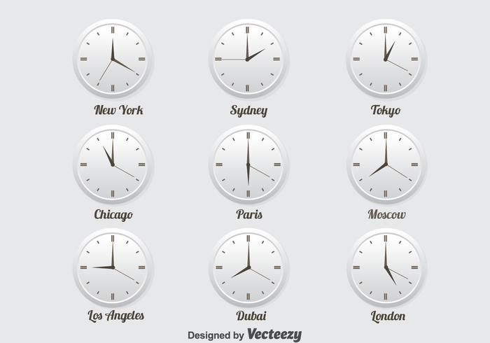 World Time Zone icons set