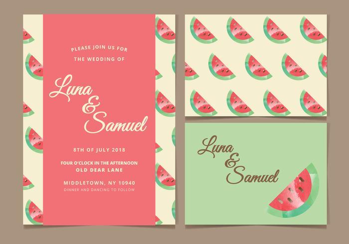 Vattenmelon Vector Bröllop Inbjudan
