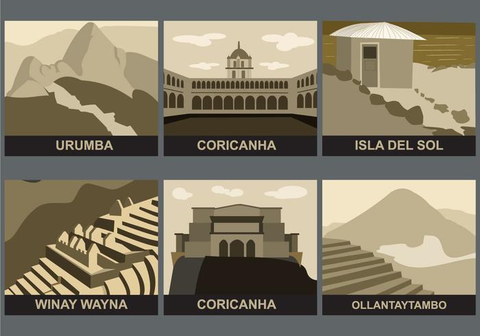 Incas Landmarks Vector