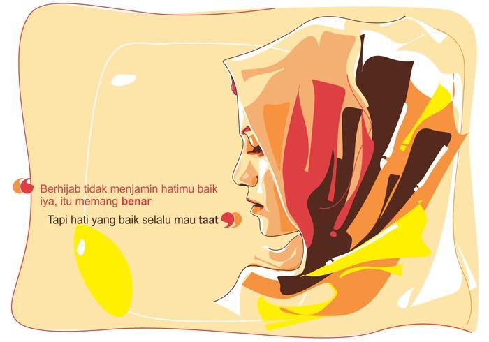 Hijab Islamic Woman Vector Portrait