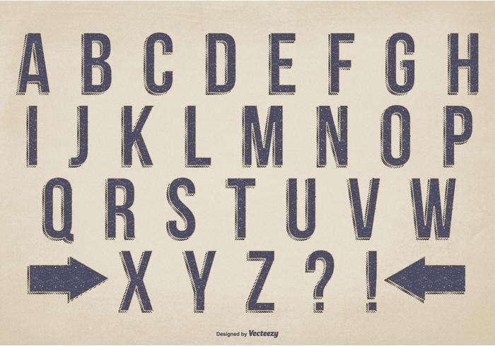 Alphabet vectoriel style rétro