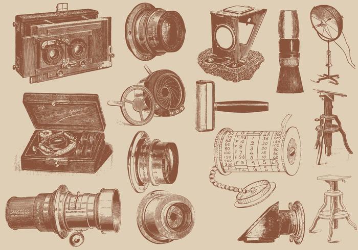 Antieke Cameraaccessoires vector