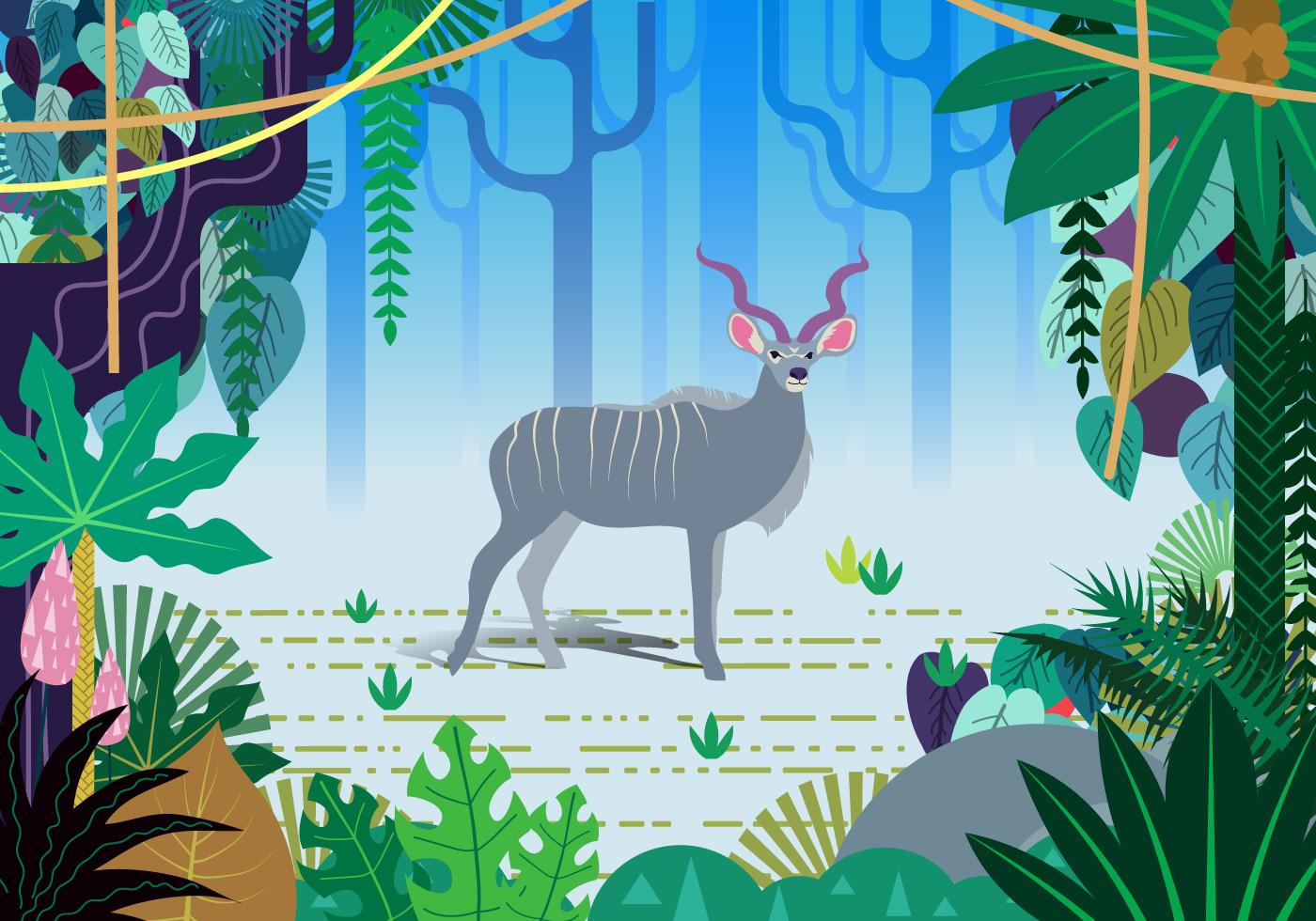 Escena del vector de la selva de Kudu - Descargue Gráficos y ...