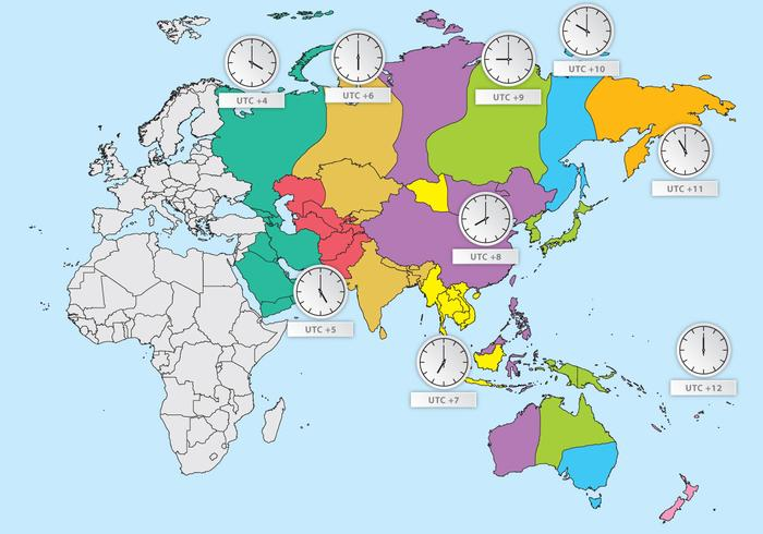 Map Of Asia Time Zones.Asia Time Zones Download Free Vector Art Stock Graphics Images