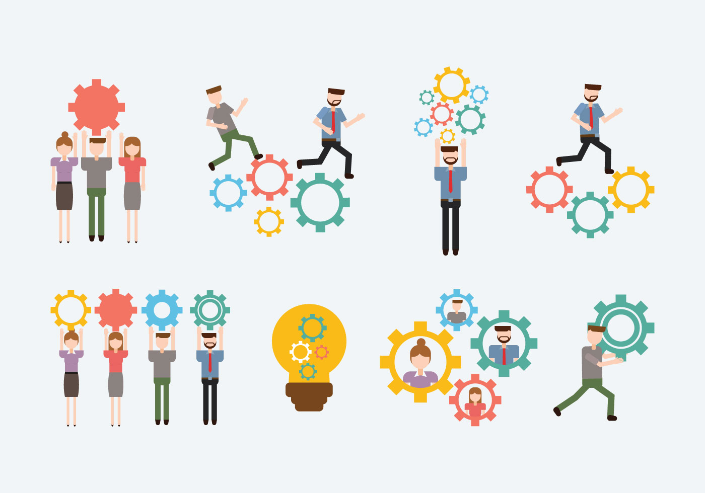 Free Working Together Vector Download Free Vector Art