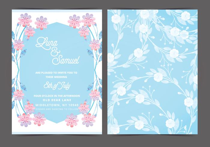 Pink and Blue Vector Wedding Invite
