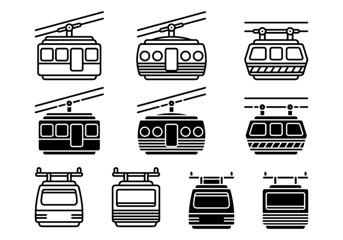 Cable Car Vector Icons