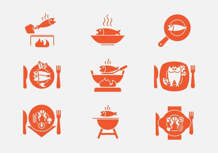 Iconos de frituras de pescado vector