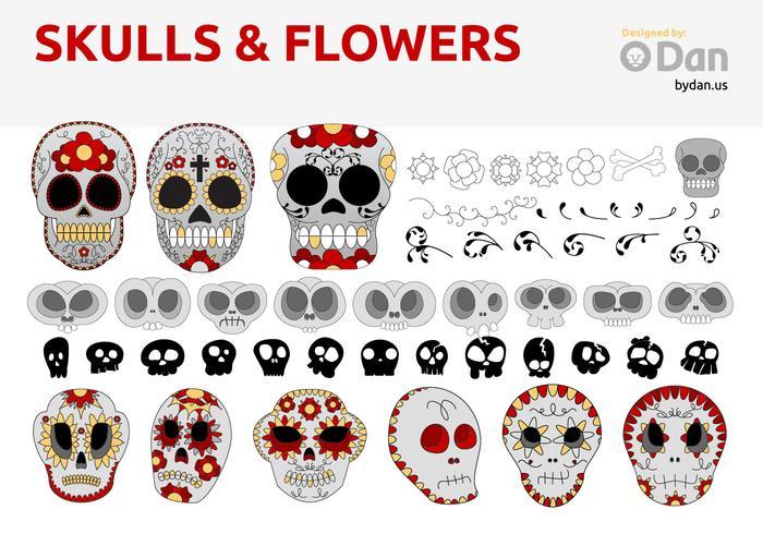 Sugar Skulls & Flowers by Dan