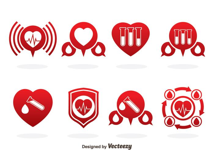 Blood Donation Red Icons Vector
