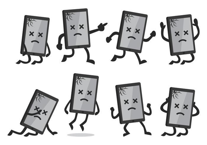 Smartphone roto de la historieta