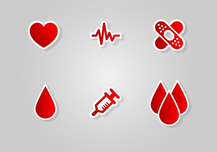 Blood Drive Icon Vector Set