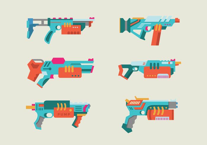Pistola de agua colorido paquete de vectores