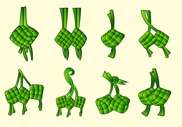 Ketupat tradicional pacote de alimentos vetoriais