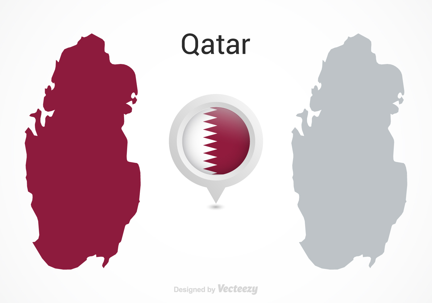 Vector Qatar Flag Map Pointer Download