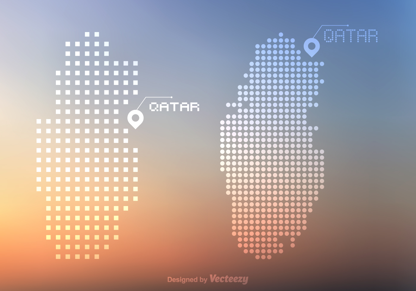 Free Qatar Vector Dots And Pixel Map
