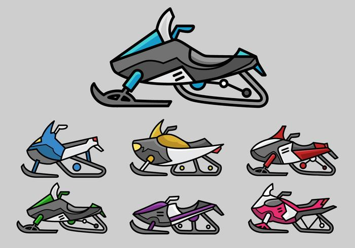 Colorful snowmobile icon vector pack