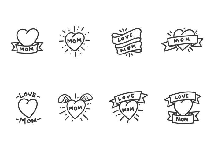 Vectores clásicos del tatuaje de la mamá