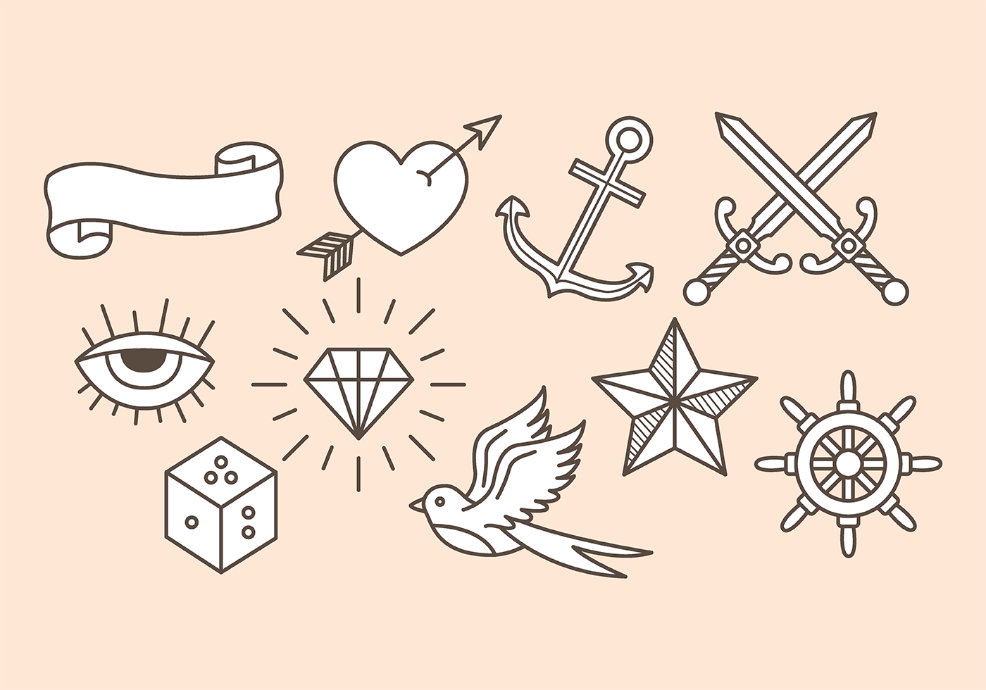 old school tattoo icons download free vector art stock graphics images. Black Bedroom Furniture Sets. Home Design Ideas