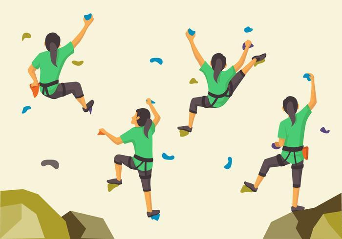 Posa di parete di arrampicata sportiva donna