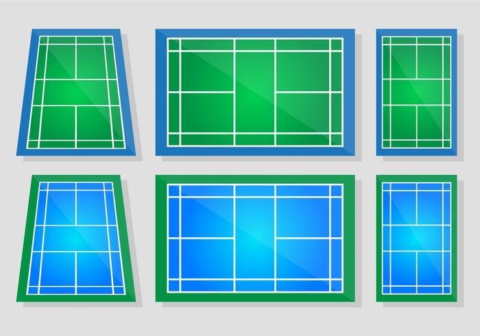 Badminton Court Vector Set