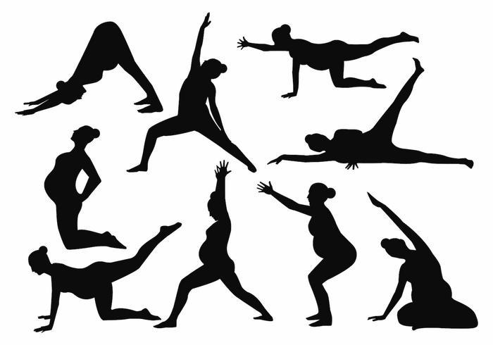 Libere el vector de la madre embarazada de la yoga de la silueta